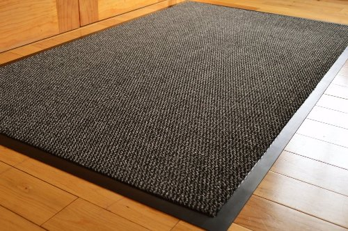 FunkyBuys barriera Tappetino Grande Grigio/Black Door Mat Rubber Backed Medium Runner Barrier Mats rug PVC Edged Heavy Duty Kitchen Mat (80x 140cm)