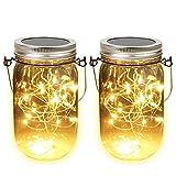 toifucos mason jar lanterne solare, 2m 20 led lampade fata vetro solare mason jar appeso lanterna luce per decorazione esterna, patio, giardino, 2 pezzi bianco caldo(mason jar includere)