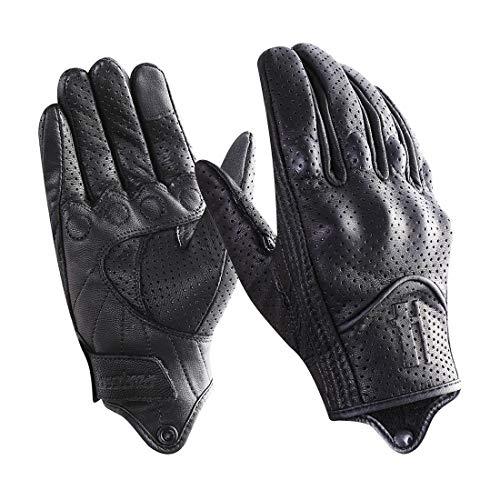 Harssidanzar Guanti da moto touchscreen da uomo in pelle di capra a dita intere GM028E,Nero,taglia L