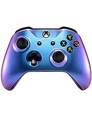 eXtremeRate Carcasa para Xbox One S X Funda Delantera Protectora de la Placa Frontal Cubierta de reemplazo para Mando del Xbox One S y Xbox One X (Model 1708) Camaleónica de Azul a Violeta