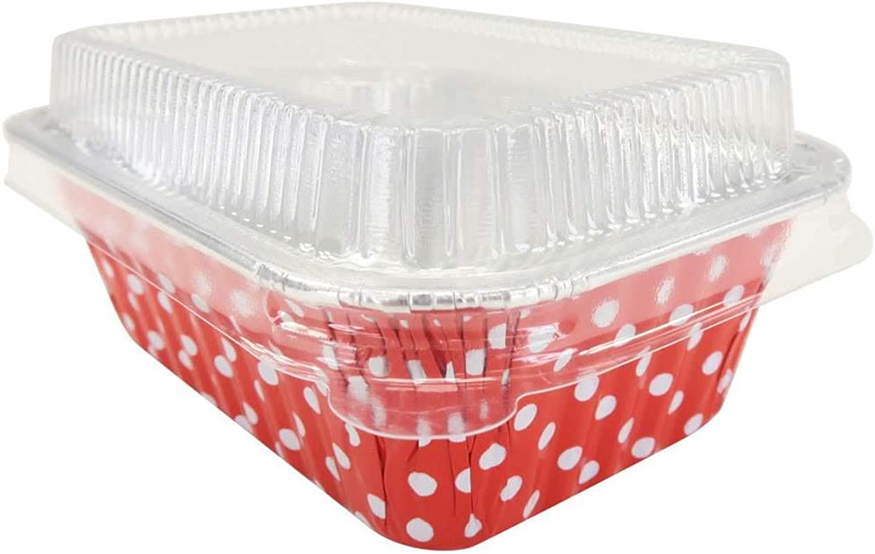 KitchenDance Disposable Aluminum Mini 6 Ounce Individual Sized Loaf Pans 4004 Color Lid Options Red Polka Dot With Lids 50