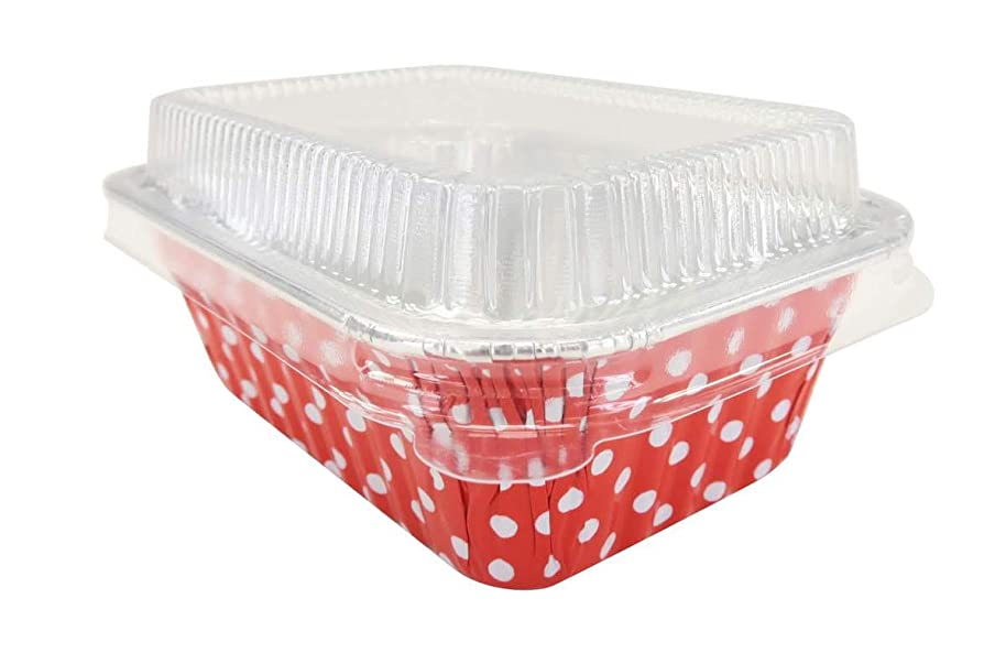KitchenDance Disposable Aluminum Mini 6 Ounce Individual Sized Loaf Pans #4004 Color & Lid Options (Red Polka Dot- with Lids, 50)