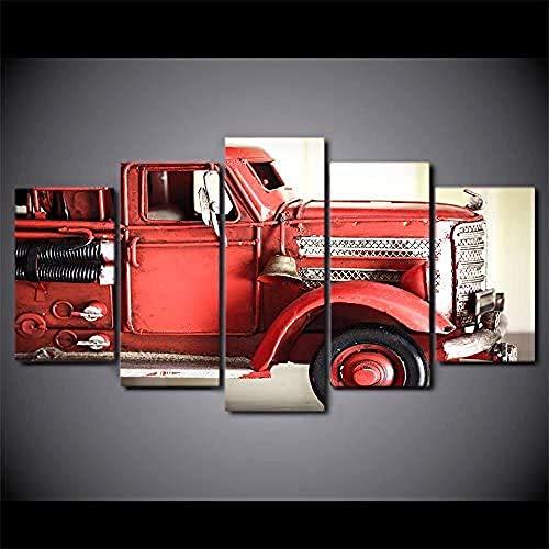 Cuadro En Lienzo Camión Vehículo Rojo Coche 150X80 Cm Impresión De 5 Piezas Material No Tejido Impresión Artística Pintura Diseño Moderno Imagen Gráfica Decoracion