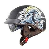 DFJK Casco de la Motocicleta de los Hombres y Mujeres de Montar Certificación Verano Casco Retro Medio Casco Dot,Wild Wolf,XL