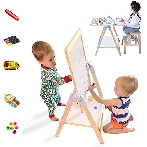 QZMTOY Kids Art Easel, Deluxe Standing Easel Set, Adjustable Art Table, Magnetic Dry Erase Board&Chalkboard Double Sided Stand, 360°Rotating Drawing Easels with Art Supplies, Adjust Height 28-39in
