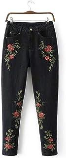 FEIFUSHIDIAN - Pantalones vaqueros de cintura alta para mujer, pantalones de mezclilla delgados, bordados, azul y negro, c...