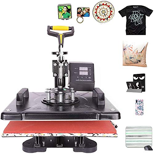 CO-Z 110V 5 in 1 Heat Press 360 Degree Swivel Heat Press Machine Multifunction Sublimation Combo T Shirt Press Machine for Mug Hat Plate Cap Mouse Pad (12x15 Inch)