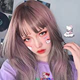 Charming Look Long Wig With Bangs Grey Pink for Women, Pastel Purple Silk Long Straight Wig With Air Bangs, Synthetic Wigs Costume Cosplay Halloween Light Purple Cab Be Straightened or Curled