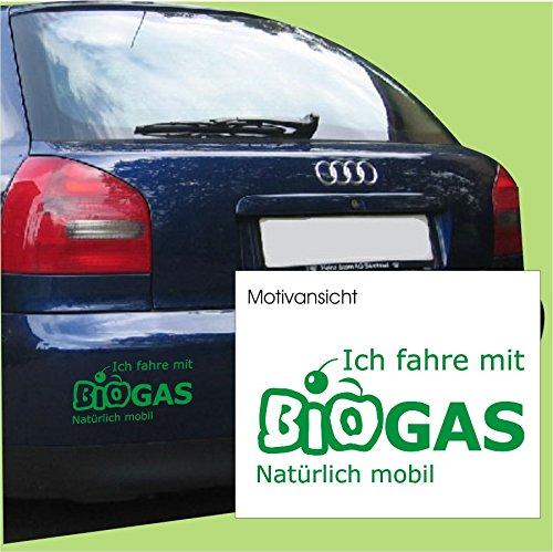Kfz-Aufkleber, Ich fahre mit BIOGAS - natürlich mobil, Umwelt, Natur, Größe ca. 300 mm x 150 mm, verschiedene Farben (M010 Weiß)