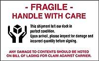 【FRAGILE】 中サイズ荷札シール白 12.6cm×7.6cm 10枚セット [並行輸入品]