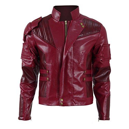 Zhangjianwangluokeji Halloween Herren Langer Jacke Mantel Rote PU Leather Regenmantel Erwachsene Cosplay Fancy Dress Kostüm Costume Kleidung (M, Kurz Rot)