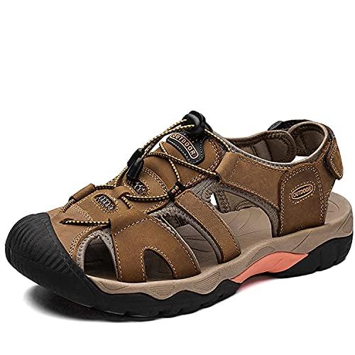 VTASQ Sandalias Hombre Verano Piel, Aire Libre Deportivas Playa Antideslizantes Zapatos Senderismo Sandalias con Punta Cerrada Zapatos de Senderismo Marron Oscuro 40EU