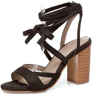 BalaMasa Womens ASL06388 Pu Block Heels