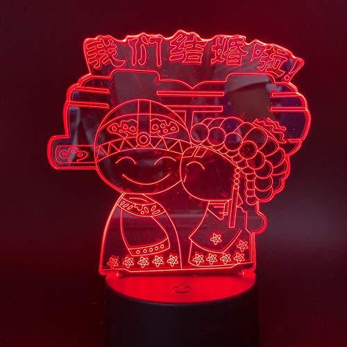 Lampada da tavolo 3D ci stiamo sposando logo Lampada da tavolo con cambio di colore per gli amanti del matrimonio cinese