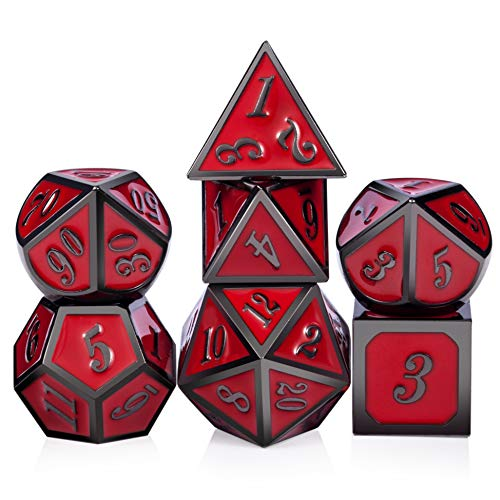 Red D&D Game Dice,7 die Polyhedral Metal Dice with Gift Velvet Pouch for DND Dungeons and Dragons Dice Collector Board...