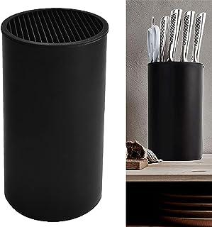 Yontree Bloc Couteau Universel Range Couteaux Vide Porte-Couteaux Stable Support de Couteaux de Cuisine Amovible, Noir