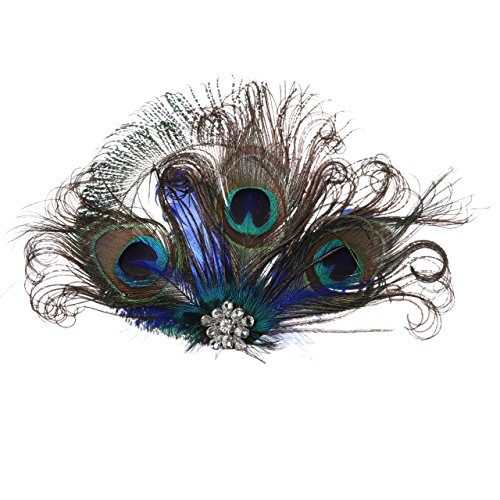 ArtiDeco 20er Jahre Flapper Pfau Feder Haarclips 1920s Damen Gatsby Kostüm Accessoires