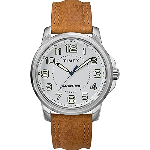 Timex Men' s Expedition Metal Field Watch – Blanco Dial/Brown Strap