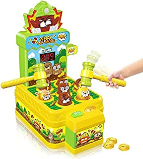 Mini Electronic Arcade Game with 2 Hammers, Pounding Toys Toddler Toys for 3 4 5 6 7 8 Years Old Boys Girls, Whack A Mole ...