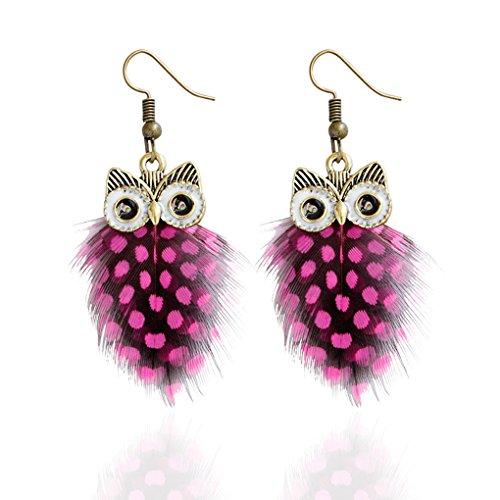 Babysbreath Multi couche Colour Peacock Feather Owl Shape Fishhook Drop Earrings For Women rouge
