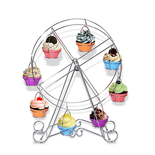 Grande roue Cupcake Dessert support | acier inoxydable Muffin porte-gobelet pour réceptions anniversaires mariages Décoration de bureau pour enfants, 8 Tasse