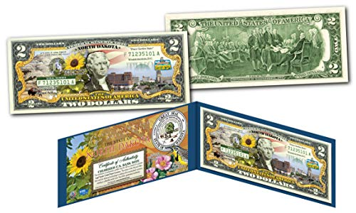 NORTH DAKOTA Collectible Art Two-Dollar Bill with Certificate Honoring America's 50 States