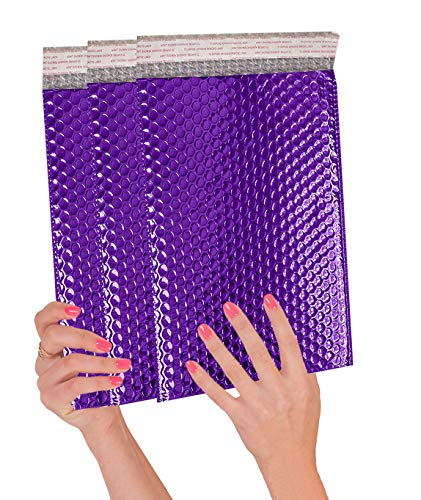 ABC 10 Pack Metallic Bubble mailers 6.5 x 10.5 DVD size. Purple padded envelopes 6 1/2 x 10 1/2. Glamour bubble mailers Peel and Seal. Padded mailing envelopes for shipping, packing, packaging