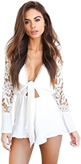 Tortor 1Bacha Womens Rompers Lace Sleeve Frill Sexy Rompers Summer Deep V Neck Tie Waist Romper