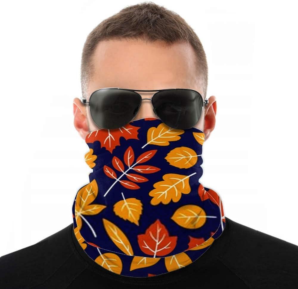Headbands For Men Women Neck Gaiter, Face Mask, Headband, Scarf Colourful Autumn Leaf Pattern On Dark Turban Multi Scarf Double Sided Print Elastic Headbands For Sport Outdoor