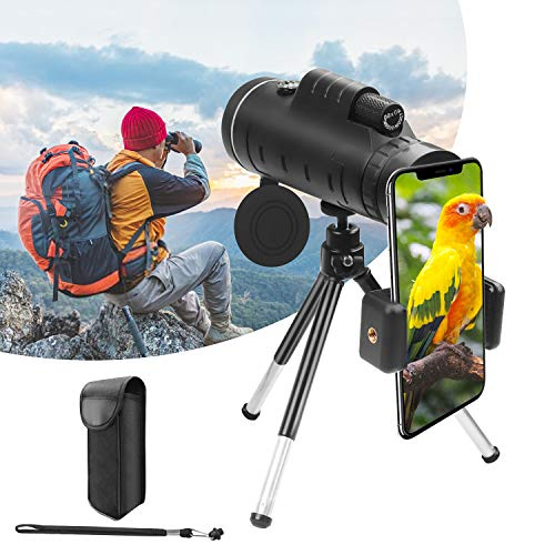 Telescopio Monocular 40x60 Impermeable BAK4 Prism HD Zoom Monocular con Soporte para Smartphone Trípode, Monocular de Bolsillo para Adultos Niño para Observación de Aves Camping Senderismo