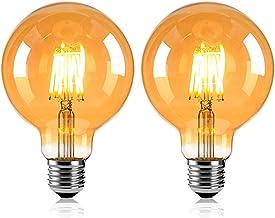 MYJHUIY Vintage Design LED lamp in retro stijl voor sfeerverlichting E27 G95 Edison lamp, 6W 2200K warm licht 230V flikker...