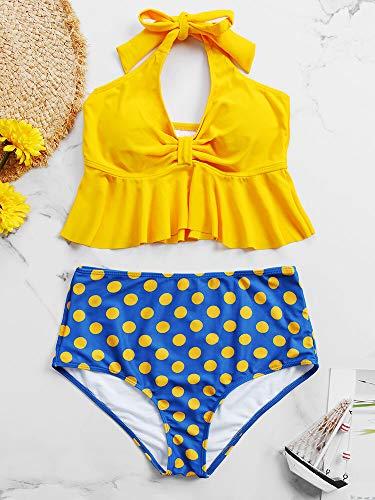 QXLG Swimsuit Mujeres Halter String Ruffles Dobladillo Twee Polka Dot High Rise Dos Pieza Bikini Moda Swim (Color : Yellow, Size : 12)