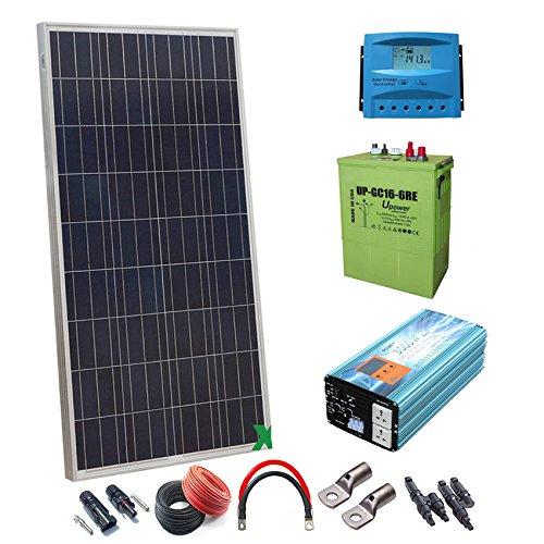 Kit Solar 12v 600W/3000W día Regulador de carga PWM 40A Batería UP-GC16 600AhInversor 3000w onda pura con cargador 50Ah