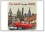 Imán para nevera, diseño vintage de coche de viaje por Europa