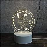 Luz Nocturna ,Lámpara De Ilusión Óptica Led 3D Con Placas Acrílicas De Patrones,Lámpara De Visualización Creativa Usb Regalo Para Niños,Orejas De Conejo