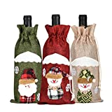 3pcs Christmas Wine Bottle Cover, Powder Bag Santa Claus Snowman Tableware for Christmas New Year Decoration