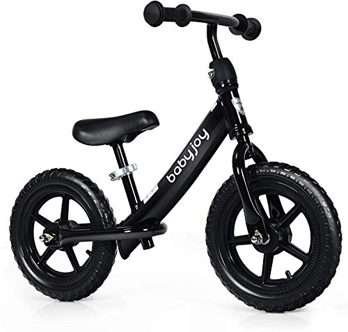 COSTWAY Kids Balance Bike, Carbon Steel Frame Bikes with Adjustable Seat and EVA Foam Tires, No Pedal Training Bicycle for Toddlers 3 - 5 Years Old (Black)