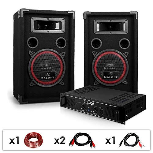 elektronik star DJ PA-Set DJ-12 1000 Watt mit PA-Verstärker SPL-400 und 500W PA-Boxen Auna XEN-3580 + Kabelset