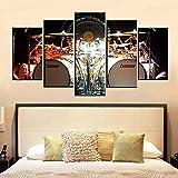 5 paneles Kit de batería musical Pintura en lienzo Arte de la pared Decoración del hogar Cuadro modular Carteles e impresiones Sala de estar Decotation Tela no tejida Sin marco Pentas Mu