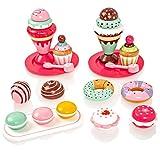 Milly & Ted Wooden Dessert Set mit Kuchen und Eiscreme - Childrens Wood Playfood Toy - Kinder Spielen Spiel Essen