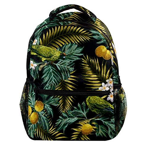 Tropical Pattern With Leaves Fruits Flowers And Birds Breadfruit Palm Plumeria Backpack Casual Sports Daypack Travel School Bag with Multiple Pockets for Men Women College