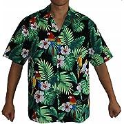 Made in Hawaii ! Men's Hibiscus Parrots Hawaiian Luau Cruise Aloha Shirt