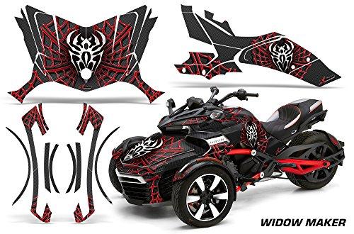 AMR Racing Roadster Graphics Kit Aufkleber kompatibel mit Can-Am Spyder F3 – Widow Maker Rot Schwarz