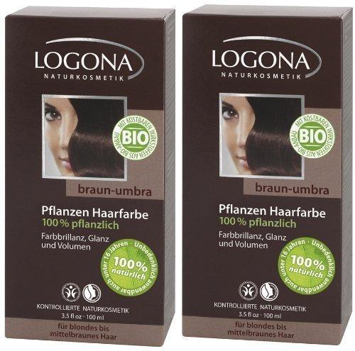 Logona Henna Tinte para cabello Tintura de pelo vegetal braun umbra en paquete doble 2 x 100 g
