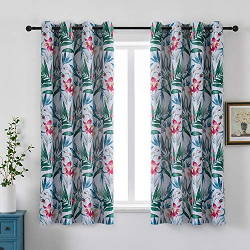 Flowers Window Curtains Floral Drapes Flowers and Leaves Window Treatments 52 x 63 Inches Grommet Curtains Room Darkening Curtains Colorful Flower Drapes for Bedroom Living Room