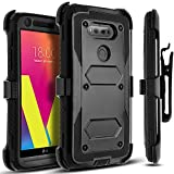 CircleMalls Dual Layer Hybrid Protective Cover with Built-in Screen Protector, Holster Locking Belt Clip, Stylus for LG V20 - Black