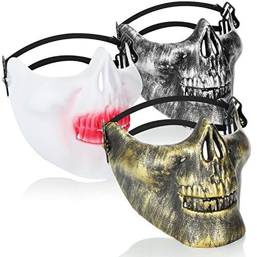 com-four 3x Maschera del Teschio per Halloween - Maschera facciale scheletro per palla mascherata - Semimaschera cranio in diversi colori [la selezione varia]