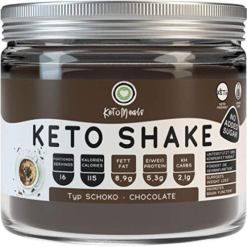KetoMeals Keto Shake Schoko | Ketogene Trinkschokolade | Keto Diät Shake Schokolade zum Abnehmen mit sättigenden Ballaststoffen, Kakao, Leinsamen & Kokos | 240g Kakao-Pulver ohne Zucker