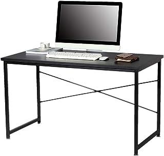 ONESTEP シンプルワークデスク 幅120cm×奥行60cm×高さ70cm 組立簡単 パソコンデスク ゲーミングデスク 勉強机 (Black, 120)