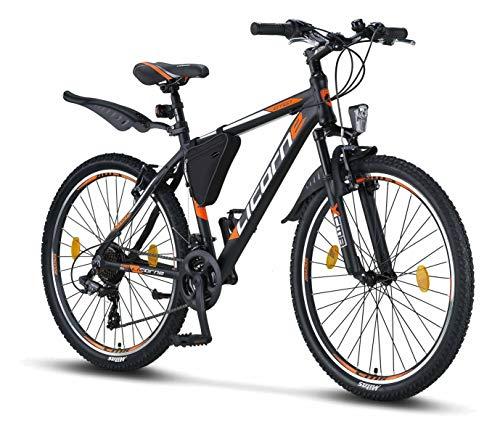 Licorne Bike Effect (Schwarz/Orange) 26 Zoll Mountainbike, MTB, geeignet ab 150 cm, Shimano 21 Gang-Schaltung, Gabelfederung, Jungen-Fahrrad & Herren-Fahrrad, Rahmentasche